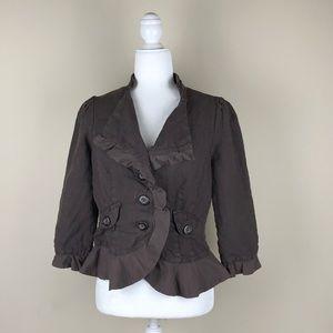 ANTHROPOLOGIE CIDRA | Brown Linen Crop Blazer Boho